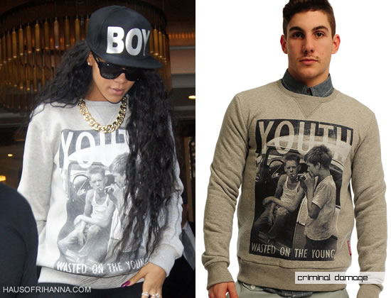 Rihanna In Criminal Damage Youth Wasted On The Young Sweater