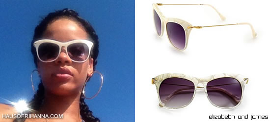 c9e7592265 Rihanna also shared a pic on Instagram yesterday of her sporting big gold  hoops and cat eye sunglasses from Elizabeth and James. The sleek Fairfax ...