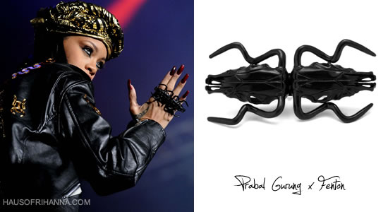 Rihanna in Prabal Gurung by Fenton double steer skull ring