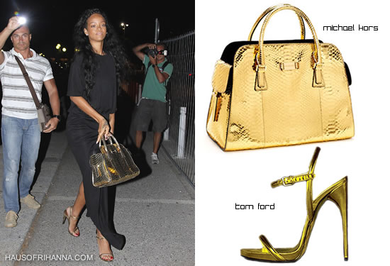 Rihanna carrying Michael Kors Gia gold python satchel and wearing gold python Tom Ford shoes