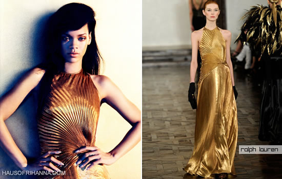Rihanna in Harper's Bazaar, August 2012 wearing a gold halter neck gown from Ralph Lauren Fall 2012