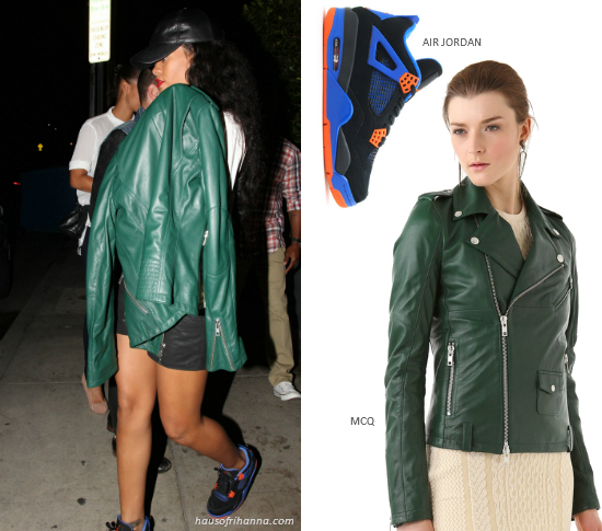 Rihanna in McQ by Alexander McQueen green leather motorcycle jacket