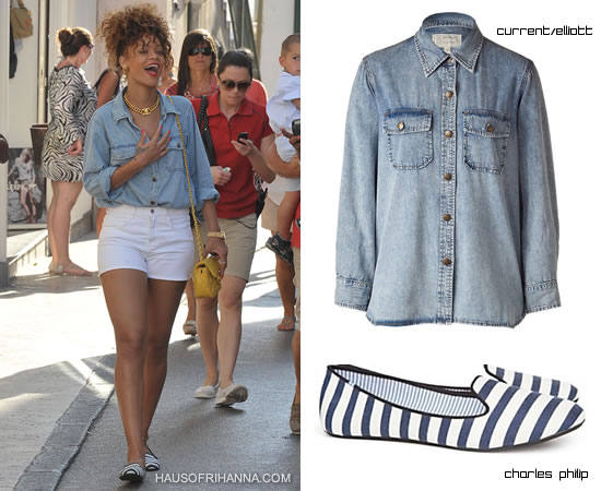 Rihanna in Capri wearing Chanel jewelry, Chanel yellow quilted chain bag, Charles Philip striped moccasins and Current/Elliott the perfect denim shirt