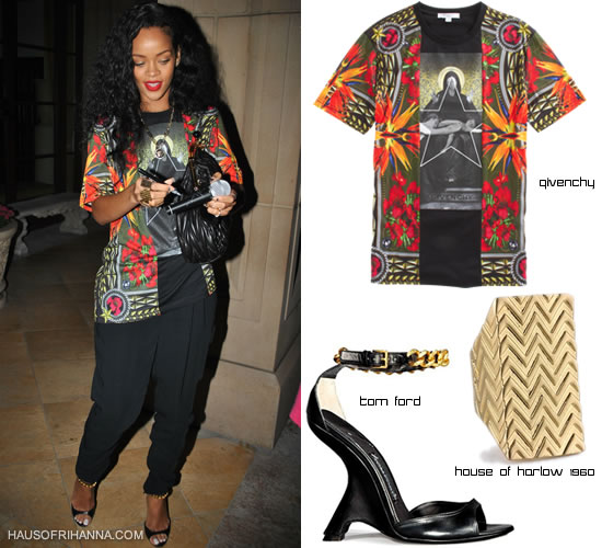 Rihanna in Givenchy Birds of Paradise t-shirt, House of Harlow 1960 textured wrap ring and Tom Ford ankle chain sandals