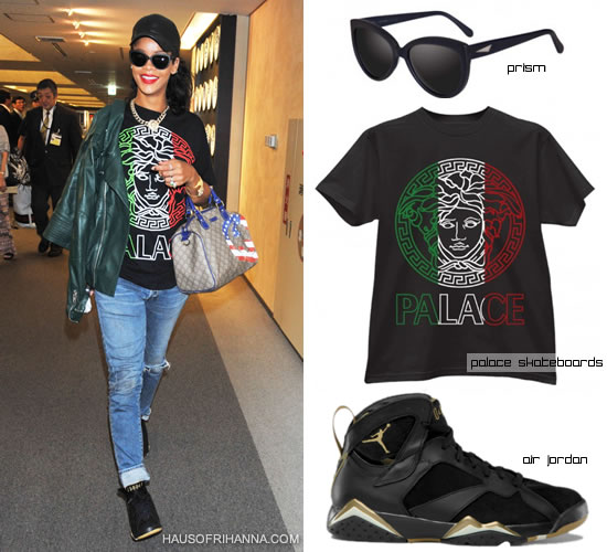 Rihanna wearing Prism Portofino sunglasses, Palace Skateboards palace versafe italy t-shirt, Gucci flag collection boston bag, Melody Ehsani queen of the jungle necklace, Air Jordan retro 7 golden moments, McQ by Alexander McQueen green leather jacket