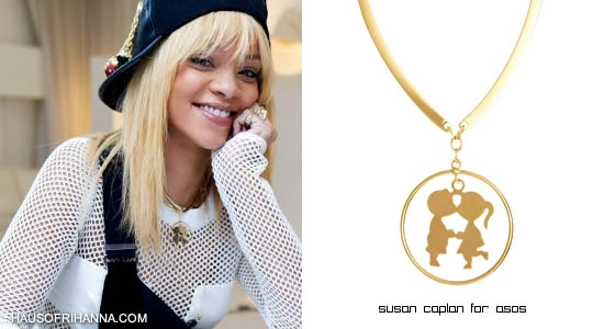 Rihanna wearing Susan Caplan for Asos Kissing Couple necklace on Styled To Rock