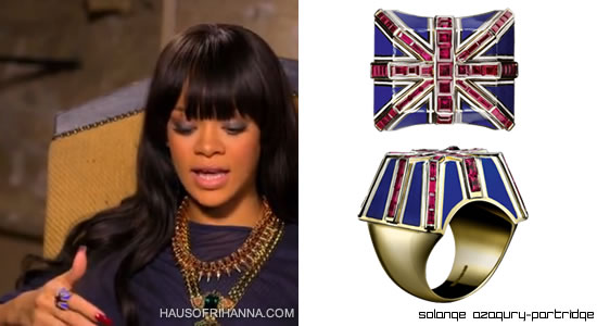 Rihanna wearing Solange Azagury-Partridge's Union Jack flag ring