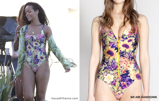 Rihanna in Barbados wearing We Are Handsome floral Secret Garden one-piece swimsuit