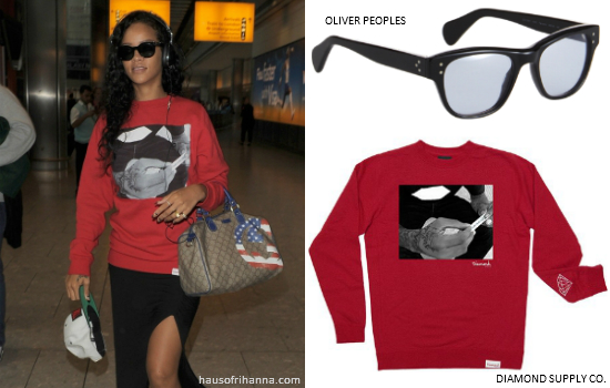 Rihanna in Diamond Supply Co. Kush Crew sweater, Trapstar snapback and Converse