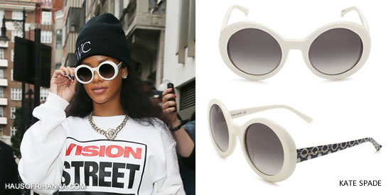 Rihanna in large white Kate Spade Graceann sunglasses