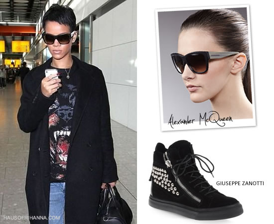 Rihanna in Givenchy Rottweiler t-shirt, Alexander McQueen sunglasses and Giuseppe Zanotti studded sneakers