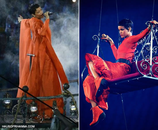 Rihanna wearing a custom orange outfit by Opening Ceremony at the Paralympics closing ceremony in London