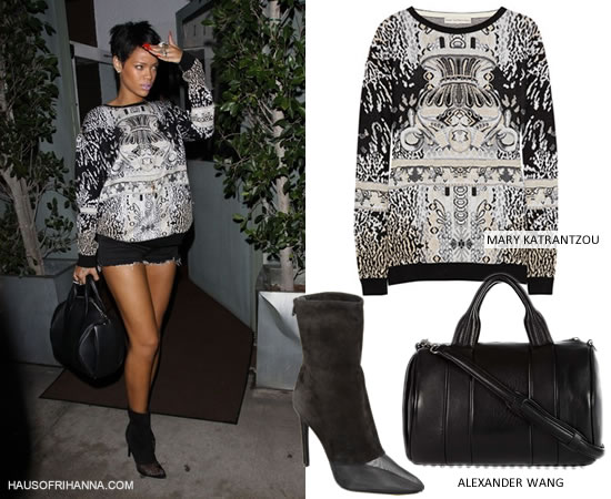 Rihanna wearing Mary Katrantzou intarsia knitted sweater, Alexander Wang Rocco handbag and Cameron boots