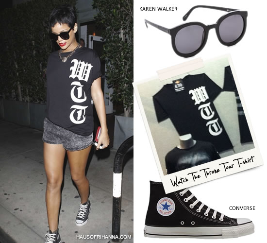 Rihanna in WTT Watch The Throne t-shirt
