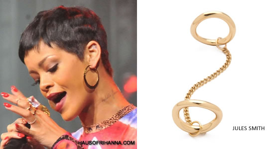 Rihanna in Jules Smith gold Chained To You ring""