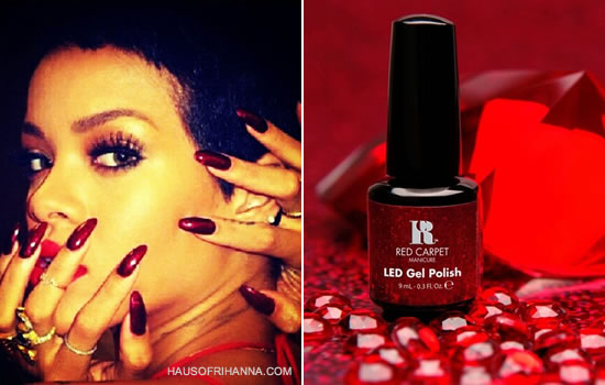 Rihanna wearing Red Carpet Manicure's Your Fortune Awaits ruby gel polish