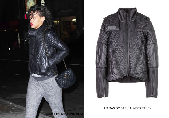 Rihanna in Adidas by Stella McCartney quilted ski jacket