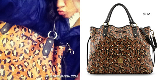 Rihanna carrying MCM Munich Wildlife leopard print shopper tote from Funk Rock Luxury collection