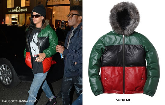 Rihanna In Supreme Leather Down Jacket Haus Of Rihanna