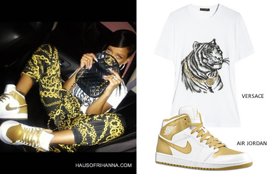 Rihanna in Versace tiger head t-shirt, Aqua By Aqua chain print jogger pants and Nike Air Jordan 1 Phat gold medal sneakers
