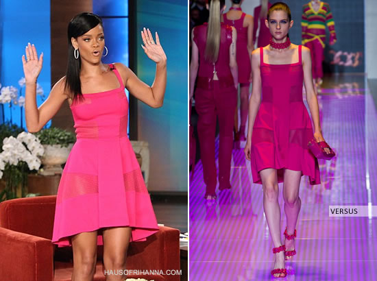 Rihanna on the Ellen Degeneres Show in pink Versus Spring/Summer 2013 dress