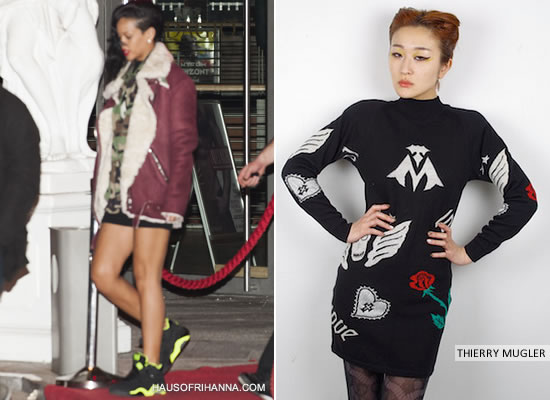 Rihanna in vintage Thierry Mugler black long-sleeved mini dress and Nike Air Force 180 black/green and Acne burgundy Velocite shearling coat
