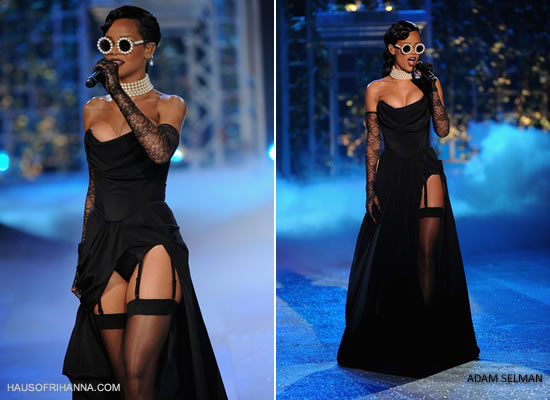 Rihanna at the Victoria's Secret fashion show wearing Adam Selman corset and skirt with Chanel pearl sunglasses