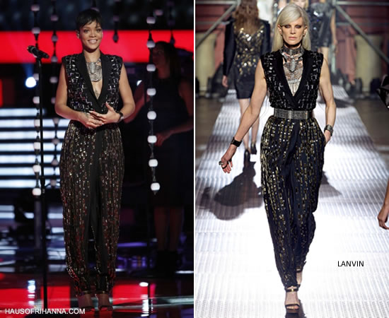 Rihanna performing on The Voice Finale wearing Lanvin Spring/Summer 2013 jumpsuit and jewelry
