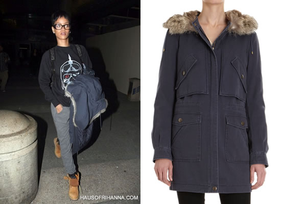 Rihanna in Trapstar x Hitman Riders 47 sweatshirt, Timberland boots and blue Army by Yves Salomon coyote and rabbit fur parka