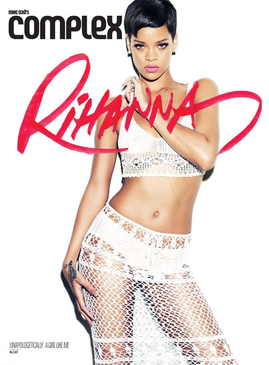 Rihanna in Complex magazine wearing Anna Kosturova crochet skirt