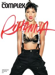 Rihanna in Complex magazine wearing Chanel suspenders, Adam Selman camouflage bandeau top, Carhartt dungarees
