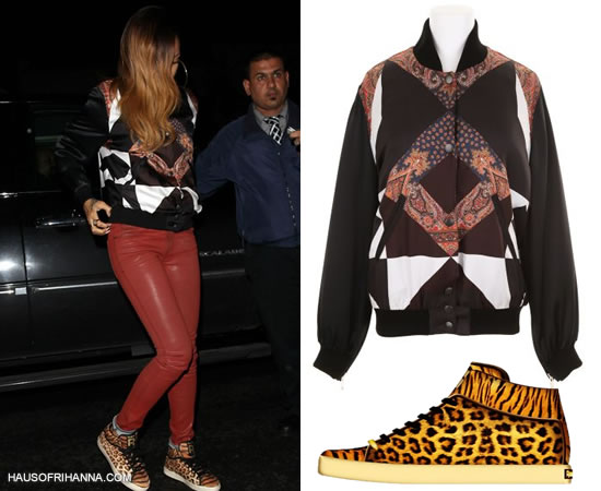 Rihanna in Givenchy Resort 2013 paisley bomber jacket, Habitual red coated skinny jeans and Reebok x Tyga T-Raww leopard/tiger-print sneaker