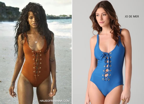 Rihanna wears an Agadir lace-up one-piece swimsuit by Jo de Mer in an ad campaign for the Barbados Tourism Authority