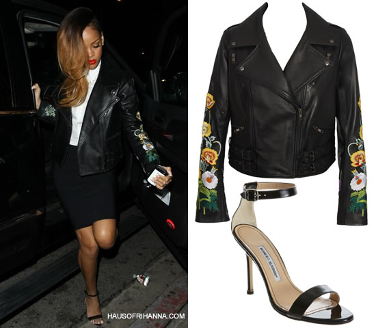 Rihanna in Christopher Kane floral embroidery leather jacket Fall/Winter 2010 and Manolo Blahnik Chaos sandals