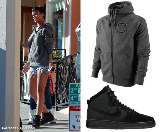 Rihanna in Nike AW77 Uconn hoodie, black Nike Air Force 1 High DCN military boot and Levi's grommet shorts