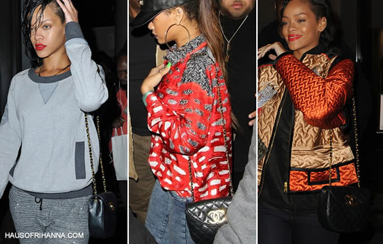 Rihanna carrying vintage oval-shaped Chanel 2.55 quilted handbag from the 1980s