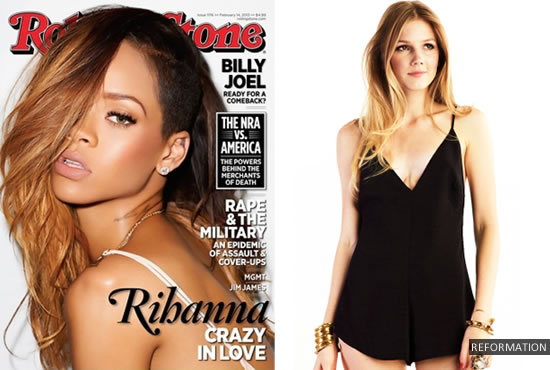 Rihanna on the cover of Rolling Stone magazine February 2013 wearing Reformation's Willow romper