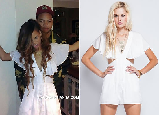 Rihanna in findersKEEPERS friend of mine white romper at her 25th birthday party