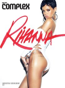 Rihanna in Complex Magazine wearing Adam Selman white bodysuit