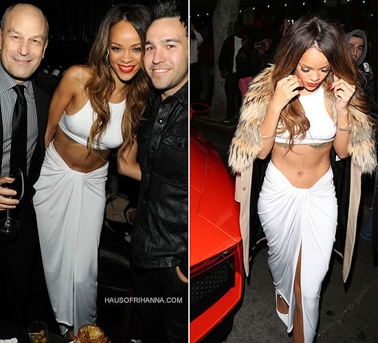 Rihanna at Grammys after-party in custom Adam Selman white top and skirt