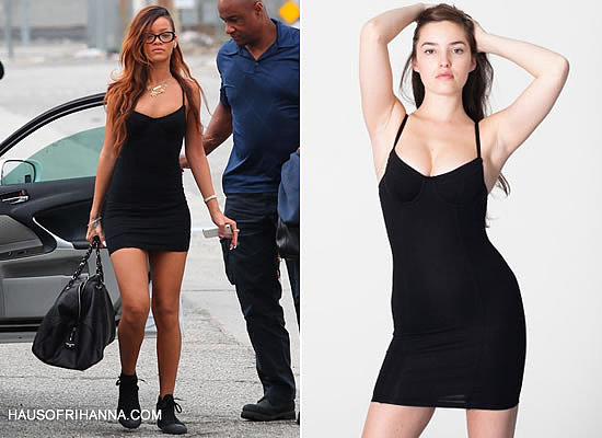 Rihanna in American Apparel black bustier mini dress and Converse black monochrome sneakers