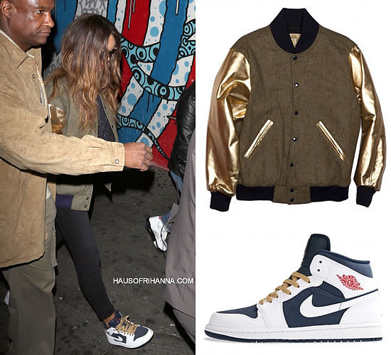 Rihanna in Bee Line tweed varsity/bomber jacket with gold sleeves and Air Jordan Olympic 1 Phat sneakers