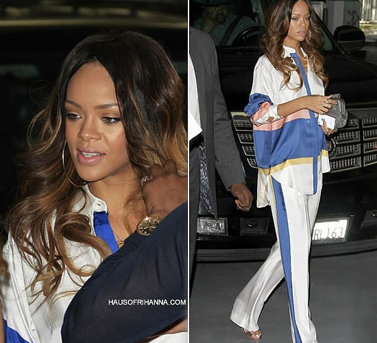 Rihanna at Roc Nation Pre-Grammy Brunch 2013 wearing Celine striped pants and top