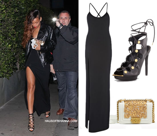 Rihanna in Rihanna for River Island maxi dress, Tom Ford lace-up sandals and Chanel bag