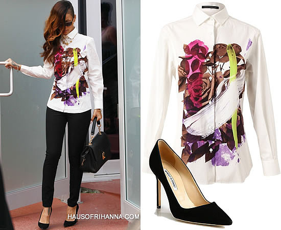 Rihanna in Christopher Kane Resort 2013 white floral print button down shirt, black Manolo Blahnik suede BB pumps and Dolce & Gabbana padlock handbag
