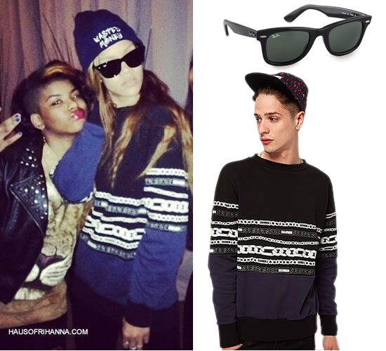 Rihanna in Christopher Shannon Kidda chain print sweatshirt and Wasted Money beanie and Ray-Ban Wayfarer sunglasses