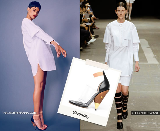 Rihanna in Elle UK April 2013 wearing Alexander Wang shirt and Givenchy shoes
