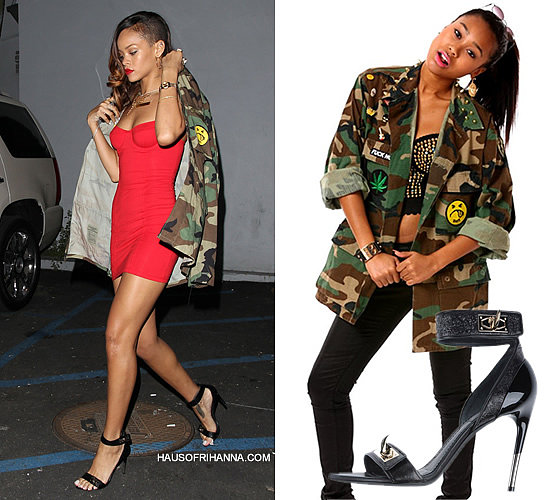 Rihanna wearing red American Apparel bustier jersey dress, Coal N Terry vintage spiked collar camouflage army jacket and Givenchy Spring/Summer 2012 sandals