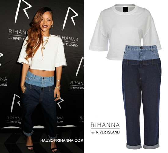 Rihanna at Rihanna for River Island after-party wearing Rihanna for River Island white cropped shirt and jeans