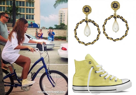Rihanna in Converse light yellow high top Chuck Taylor All Star sneakers, Chanel black and gold earrings with pearl, Louis Vuitton Fall/Winter 2011 bracelet